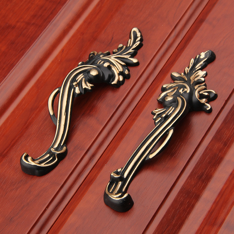 96mm Black Pair Unique Cabinet Handles Dresser Drawer Pull Retro Furniture Hardware Wardrobe Door Handles new luxurious kitchen wardrobe cabinet knobs drawer door handles pull handles furniture hardware 64mm 96mm 128mm