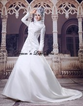MZY507 A-line satin long sleeve zip back traditional muslim wedding dress hijab muslim islamic wedding gown