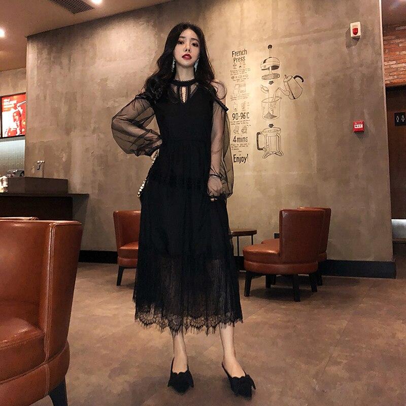 春夏ドレスの女性 2019 女性のドレス韓国ヴィンテージドレスエレガントなセクシーなレースのパーティードレス服黒 Vestidos ZT1894  グループ上の レディース衣服 からの ドレス の中 1