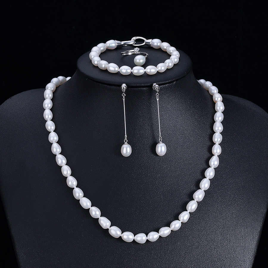 Lowest Price Real Natural Freshwater Pearl 4 PCS Jewelry Sets For Women Fashion Silver 925 White 100% Pearl Necklace Sets