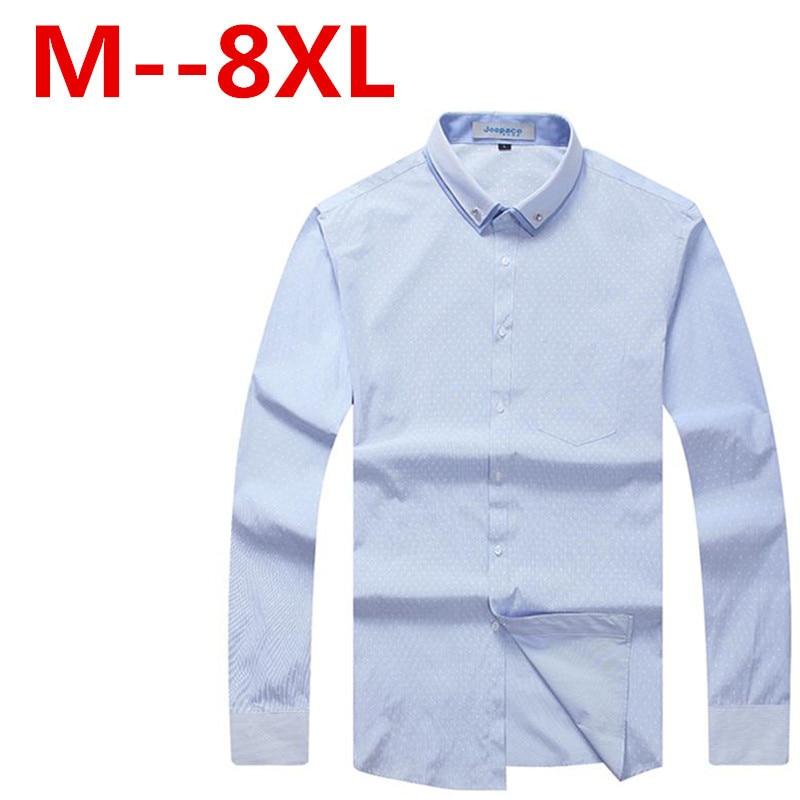 1551103021 ⑤Plus size 5XL 6XL 7XL 8XL 9XL Marca Homens Casuais camisa Magro .