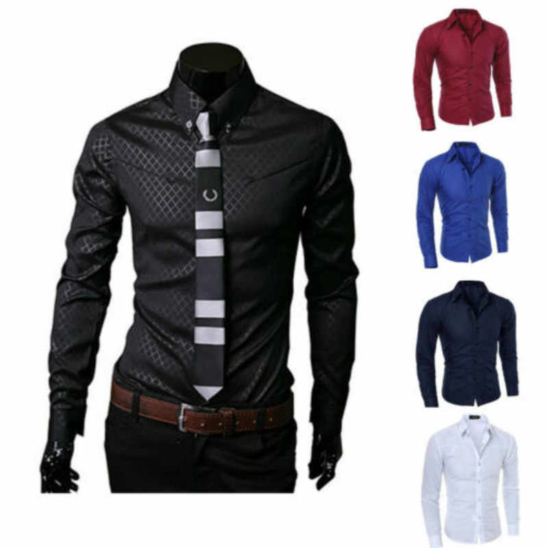 Fashion Mens Cotton Blend Luxury Casual Stylish Slim Fit Long Sleeve Casual Dress Shirts Gift