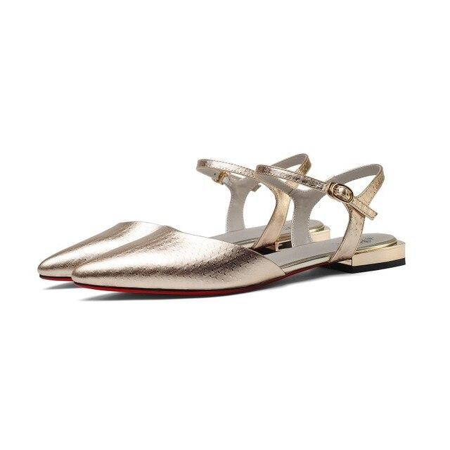 MLJUESE 2018 sandali delle donne cinturino in Vera pelle fibbia color argento punta a punta tacco basso pompe spiagge scarpe donna taglia 33-43