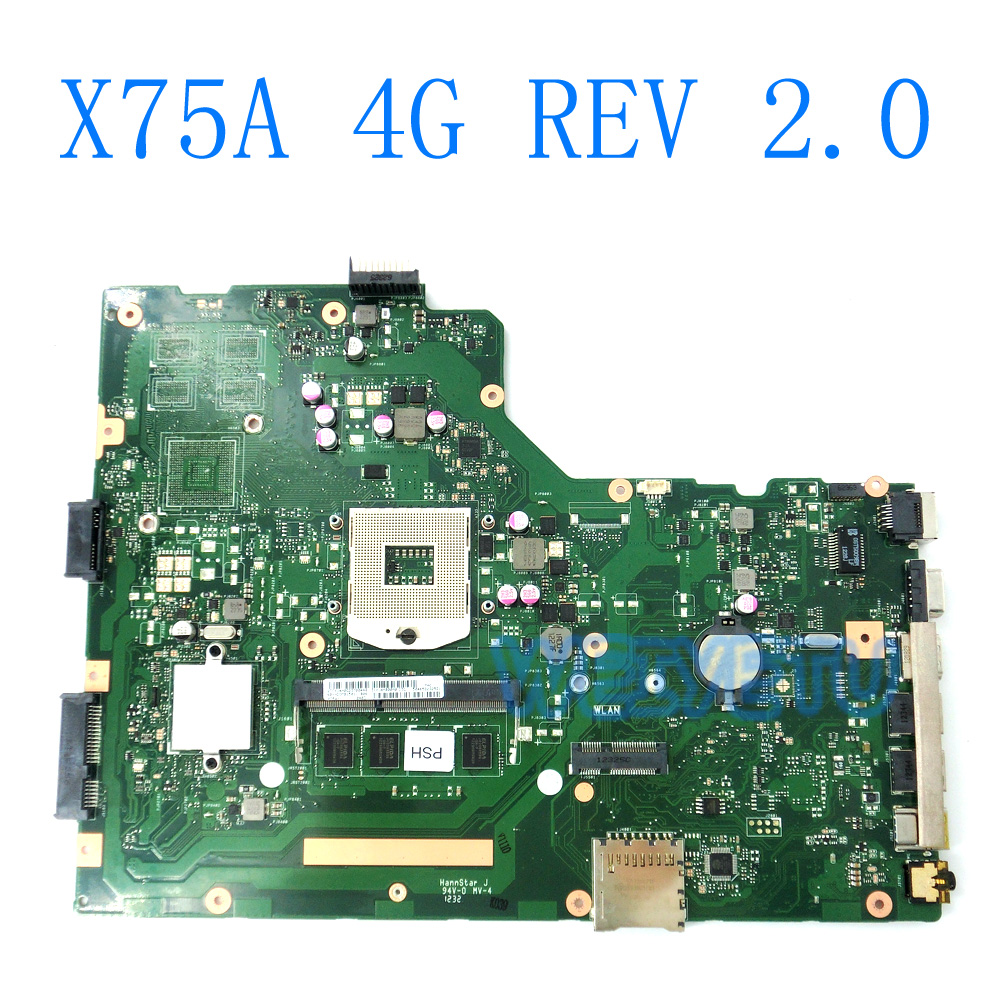 X75A 4G RAM HM76 Mainboard REV 2.0 For ASUS R704V X75VD X75A X75A1 X75V X75VB X75VC Laptop Motherboard 60-NDOMB1501-B06 free shipping x75vd gt610m with 4g ram mainboard for asus r704v x75vd x75vb x75vc x75v motherboard rev 2 0 100