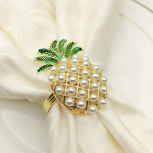 12PCS Metal Pearl Pineapple Napkin Ring Innovative Jewelry