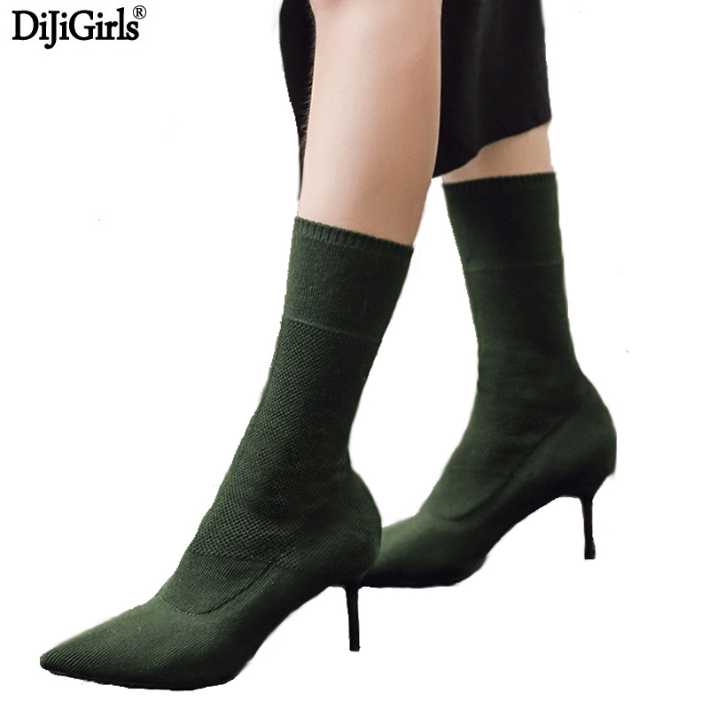 Women's Boots Green Elastic Knit Sock Boots Ladies Pointed Toe Chunky High Heels Fashion Kardashian Ankle Booties Women Pumps fashion kardashian ankle elastic sock boots chunky high heels stretch women autumn sexy booties pointed toe women pumps botas