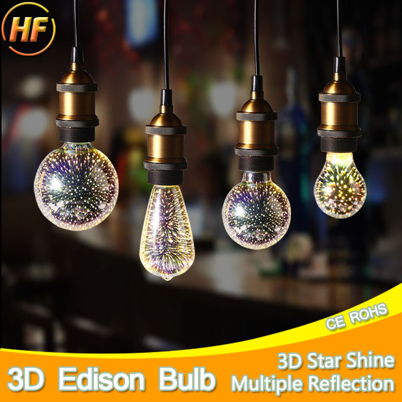 Colourful 3D Star Shine LED Edison Bulb E27 LED Lamp 220V Retro Filament Light Silver Glass Bulb 3w 5w Candle Lamparas Bombillas aftermarket free shipping motorcycle accessories green led see through engine clutch cover for suzuki gsx1300r hayabusa b king