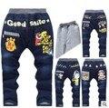 Invierno de 2015 niños pantalones de algodón, con gruesos pantalones calientes, chicos vaqueros, pip boy. pantalones de dibujos animados diseño