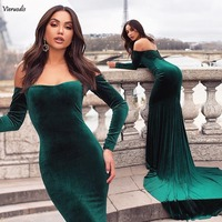 2019 New Plus Size Mermaid Evening Gowns Velvet Long Sleeves Formal prom dresses Backless Party Gowns Custom