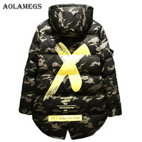 Aolamegs Parka Men Camouflage X Print Thick Mens Hooded Winter Jackets Mens Down Jacket Stand Collar