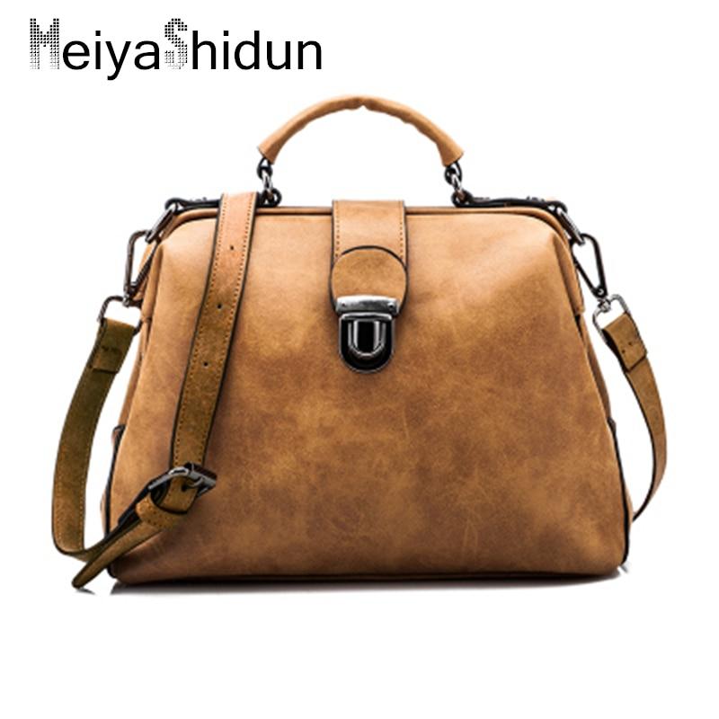 MeiyaShidun Bolsas Feminina PU Leather Handbags Big Women Bag Hasp Tote Vintage Shoulder Crossbody Bags For Women's Bolsos Mujer