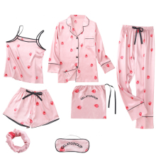 Pajamas female strawberry seven-piece ice silk long-sleeved shirt+sling+trousers+shorts+hair band+eye mask+bag lovely set pink