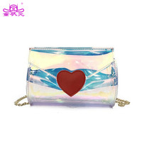 Hologram Rainbow Laser Women PVC Shoulder Bag Love Heart Bag For Teenager Girls Lady Summer Beach