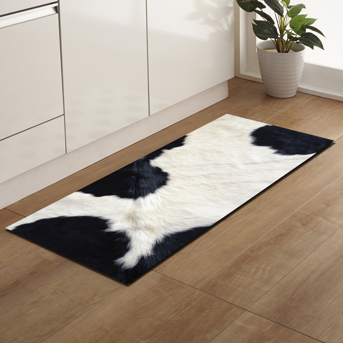 Antiskid Mat For Kitchen Floor Long Door Mat 3D Cow Tiger Animal Fur Printed Kitchen Rug Non-Slip Bedroom Bedside Mats