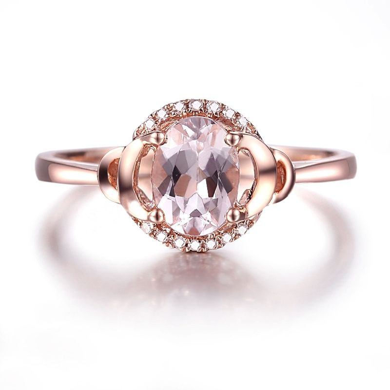 HELON Fine Jewelry Solid 10K Rose Gold Oval 7x5mm Pink Morganite Pave Natural Diamonds Ring Engagement