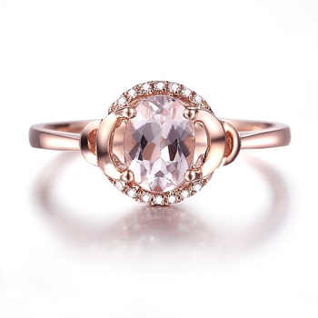 HELON Fine Jewelry Solid 10K Rose Gold Oval 7x5mm Pink Morganite Pave Natural Diamonds Ring Engagement  Wedding Gemstone Ring - DISCOUNT ITEM  13% OFF All Category