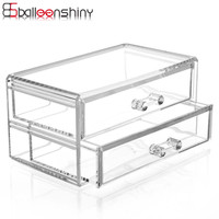 BalleenShiny Clear Acrylic Cosmetic Organizer Makeup Storage Boxes Organizer Drawer Jewelry Boxes Lipstick Cases