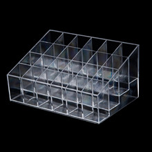HOT Clear Transparent arylic Trapezoid Lipstick Holder Cosmetic Organizer/display/holder Organizer Stand(China)