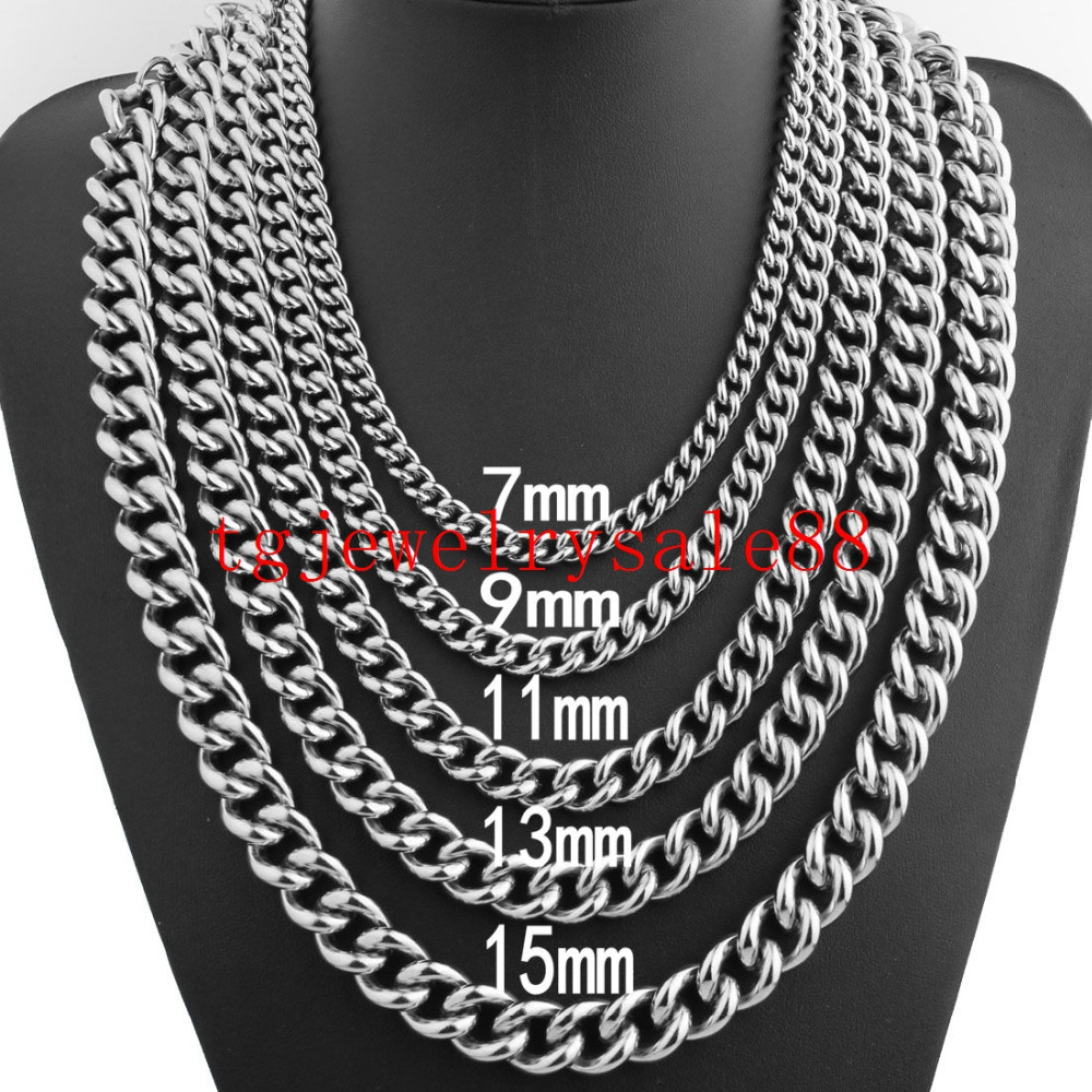9ef7a1be162f5 US $2.78 10% OFF|New Fashion 7/9/11/13/15mm Cuban Curb Link Chain Biker  Mens Stainless Steel Polishing Silver Chain Bracelet Or Necklace 7 40