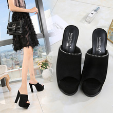 Summer sexy pearls with super high heel slippers fashion black 15CM waterproof platform hollow fish mouth wedges slippers.