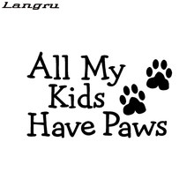 Langru My Kids Have Dog Cat Pet Car Decal Vinyl Car Styling Sticker Funny Truck Accessories Decorate Jdm(China)