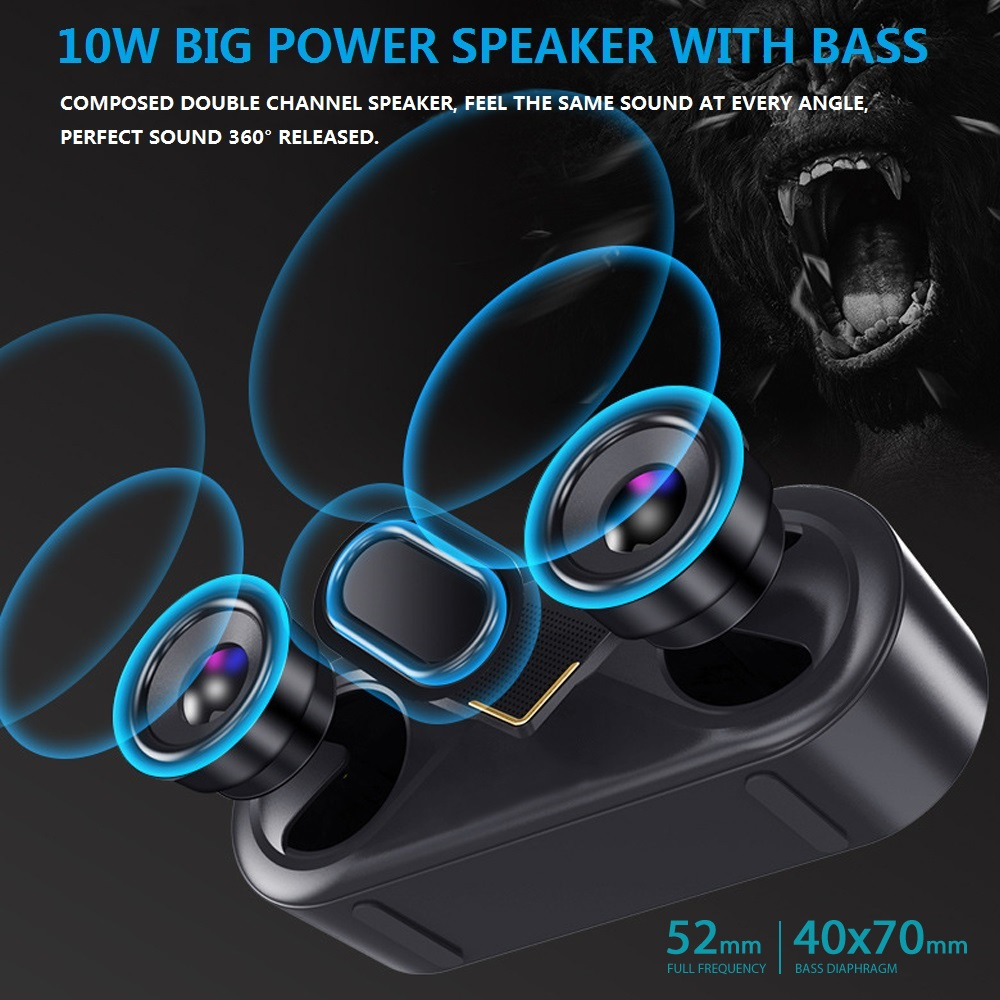 Image 4 - TOPROAD Portable Bluetooth 5.0 Speakers 10W Wireless Stereo Bass Hifi Speaker Support TF card AUX USB Handsfree with Flash LED-in Portable Speakers from Consumer Electronics