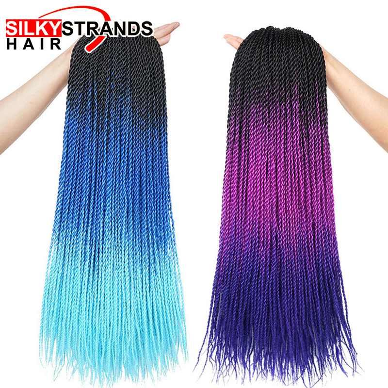 Ombre Senegalese Twist Hair Crochet Braids 24 Inch Synthetic Braiding Hair For Women Grey Pureple Blue Colors 30Strands/Pack