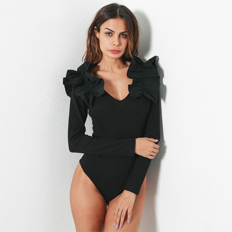 Black White Casual Ruffle Body Top Female Low Cut Long Sleeve Full Bodysuits Slim Combinaison Femme Stitching Overalls For Women