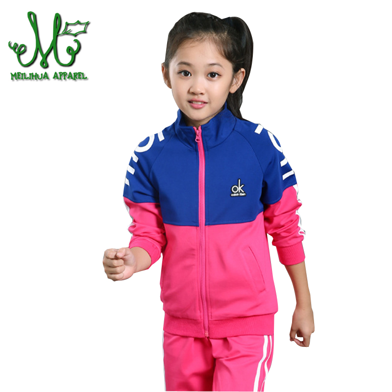 5-14 Y Teens Girls Sports Suits Clothing Sets Spring&Autumn Jacket & Pants 2Pcs Girl Patchwork Zipper Tracksuit Cotton Clothes alfani new olive pull on zipper pants 14 $69 5 dbfl