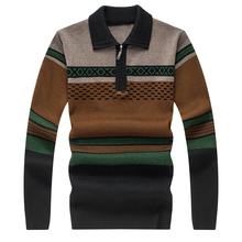 2017spring new arrival Men's fashion turn-down collar printed high quality woolen sweater men long sleeve sweaters Free shipping