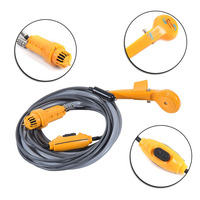Portable Camping Shower Kit Powered Pump Outdoor Shower Head Plug Into 12V Cigarette Adapter And