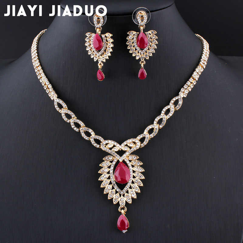 jiayi jiaduo The new bridal jewelry set for the Indian women gold-color wedding necklace retro red accessories