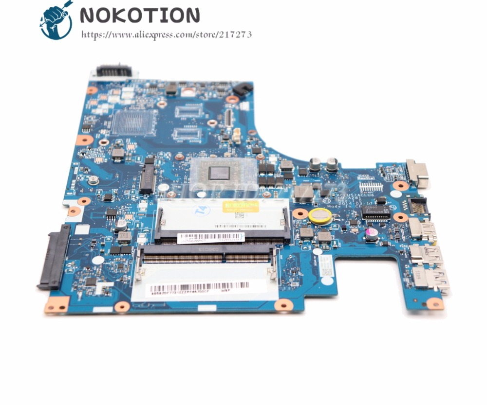 NOKOTION New ACLU5 ACLU6 NM-A281 Main board For Lenovo ideapad G50-45 Laptop Motherboard 15 Inch E1-6010 CPU onboard DDR3 working perfectly for lenovo g50 45 nm a281 laptop motherboard with amd a6 6310