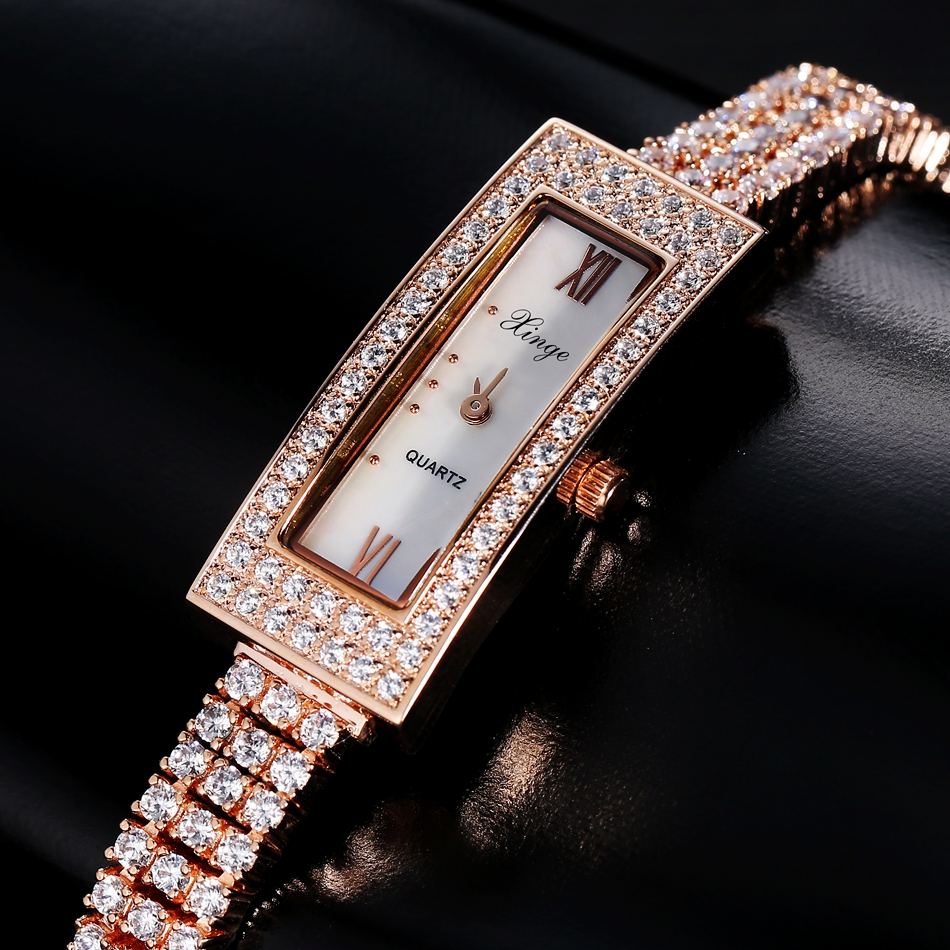 Xinge Brand Luxury Women Watches Stainless 3A Zircon Crystal Quartz Watch Women Business Fashion Watch Clock Relogio Feminino xinge top brand luxury women watches silver stainless steel dress quartz clock simple bracelet watch relogio feminino