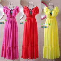 2019 Summer ruffle bohemia chiffon dress,beach dress,vestidos femininos,tropical girl long dress larger size 3XL 4XL 5XL 6XL