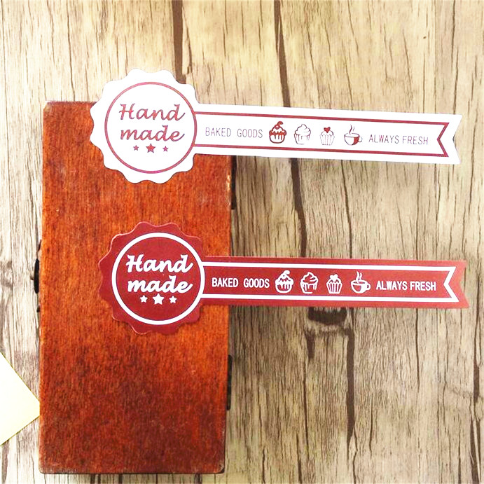 60PCS Long style ''HAND MADE'' ALWAYS FRESH Kraft paper Baking Sealing sticker Vintage DIY Gifts posted Bake package label