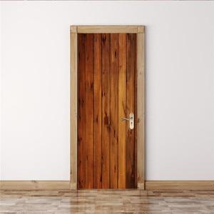 Image 4 - 2pcs/set Wood Door Wall Stickers Bedroom Home Decoration Poster PVC Waterproof Door Stickers Imitation 3D Decal