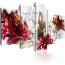 Лилии цветы плакаты и принты статуя Будды Холст Картина 5 шт