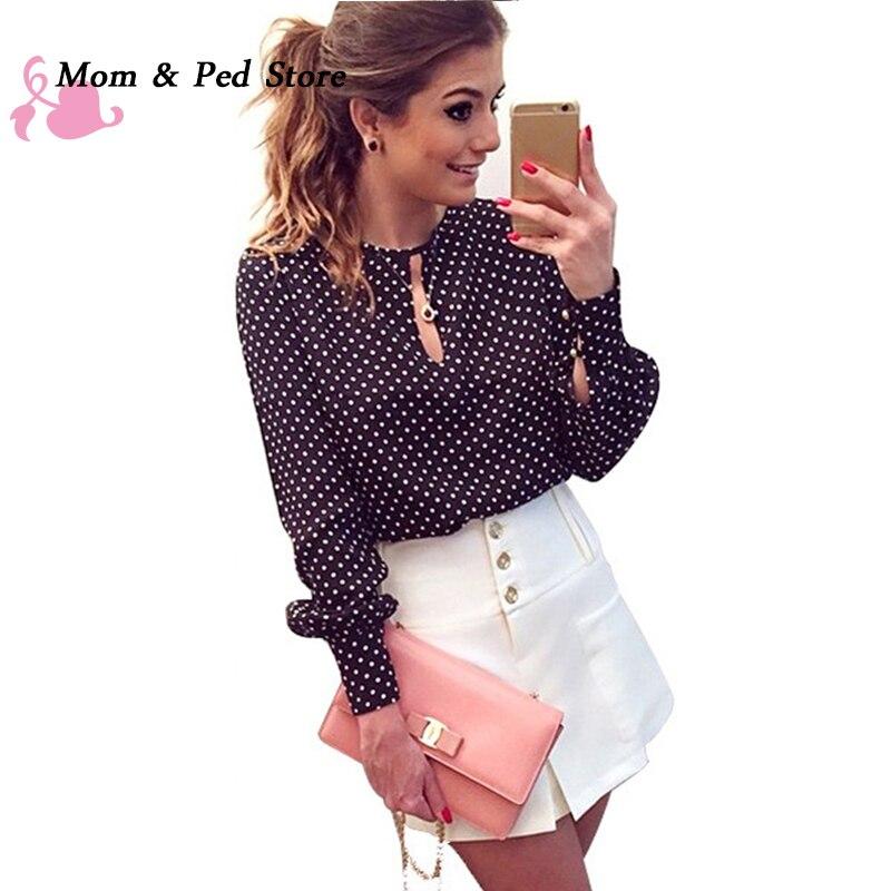 Casual Women Round Neck Long Sleeve   Blouses   Summer Chiffon Polka Dots   Shirt   Tops