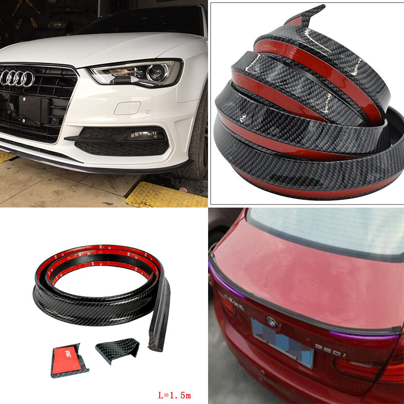 Rubber Carbon Trunk Lip Wing 1.5 Meters With Front lip Body Kit 2.5 Meter Trim Sticker for Audi A3 A4 A5 A6 A7 A8 Universal