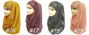 Image 5 - 10pcs/lot Gold Glitter Shimmer Scarf Shawl Head Wrap Plain Color Long Shawls Muslim Scarves Hijab