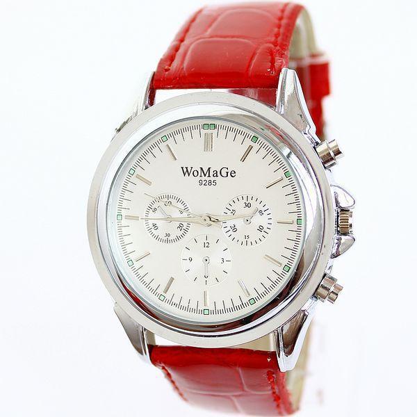 2016 Fashion Brand Womage Lattice Large Dial Pu Leather Strap Dress Watches Quartz Ladies Student Watch