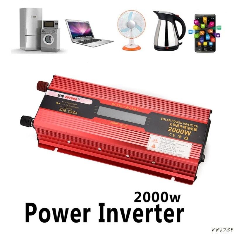 Onduleur de voiture 12 v à 220 v onduleurs de puissance convertisseur de transformateur de tension 12 220 2000 W 1000 W chargeur affichage adaptateur solaire nouveau