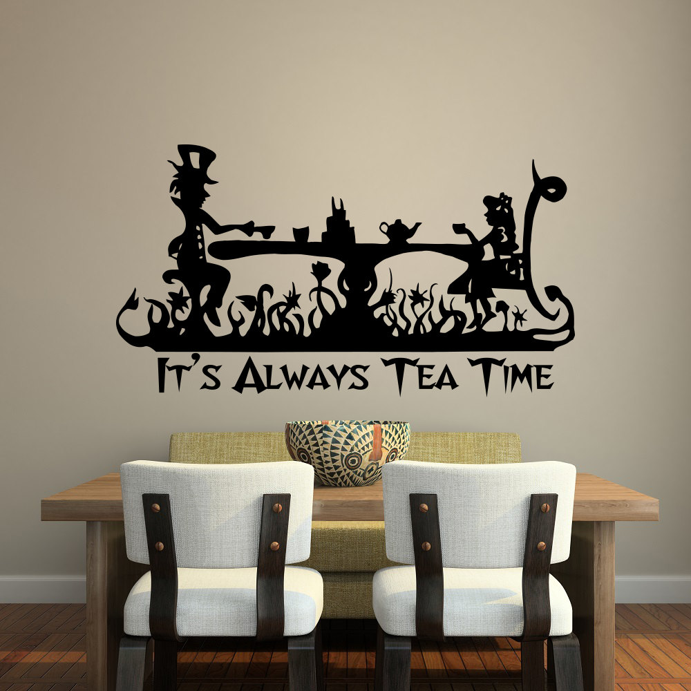 US $7.98 25% OFF|It\'s Always Tea Time Wall Decal Quote Kitchen Decor Alice  In Wonderland Vinyl Wall Sticker Dining Room Cafe Lounge Decorate D790-in  ...