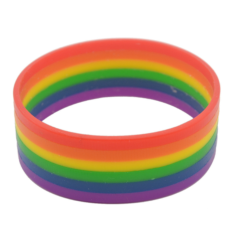 Us 1 6 30 Off Lychee Silicone Rainbow Pride Bracelet Mutilayered Rubber An Wristband Jewelry In Wrap Bracelets From Accessories