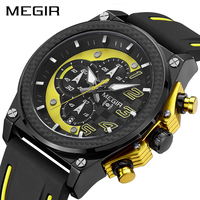 MEGIR Quartz Men Sport Watch Big Dials Silicone Strap Army Military Watches Clock Men Chronograph Wristwatches