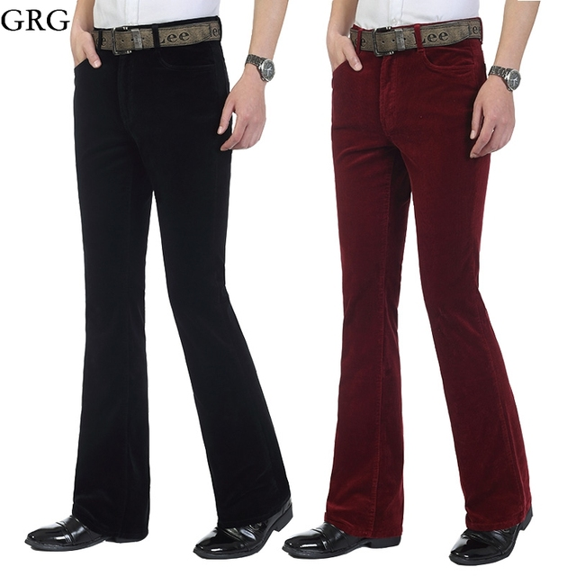 fb9fb976158 Free Shipping Men s Autumn Corduroy Boot Cut Pants Male Mid Waist Business  casual Candy Color flares Corduroy Trousers 27-36