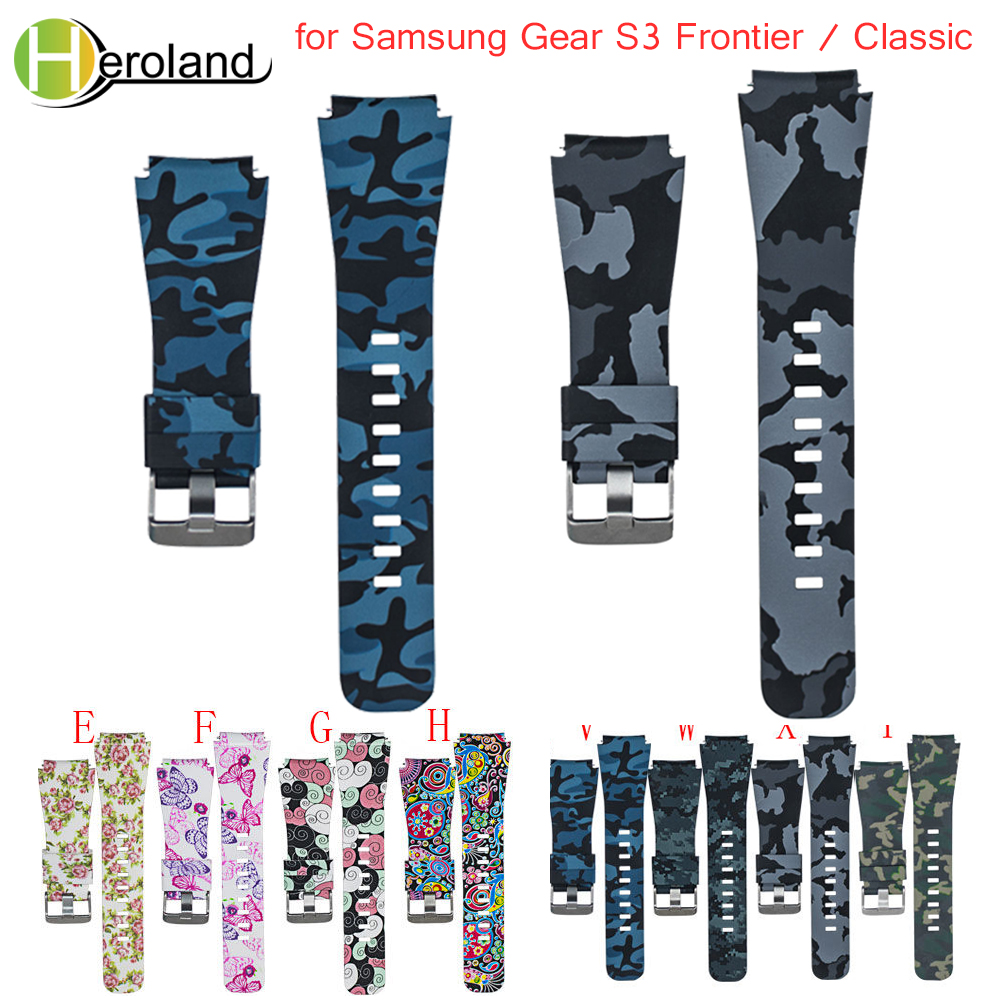 Sport Soft Silicone Strap For Samsung Gear S3 Frontier Classic Watch Band Replacement Printing Pattern Smart Wristband Bracelet