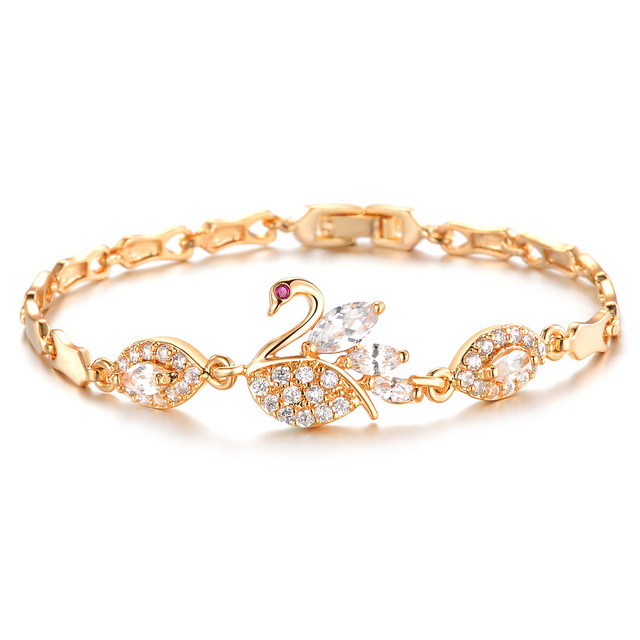 Beautiful Swan Bracelet Female Gold color Crystal Hand Jewelry