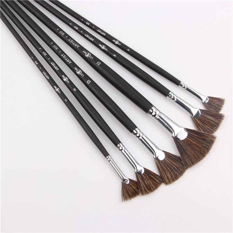 6pcs/Set Special offer Wild Boar Bristle brush pen set fan shape art supplies painting pen oil paint brush Student Stationery hui ren tang wild flower nigatake shiraia simplxs carefully selected big shiraia 500 grams shipping special offer